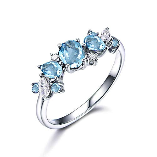 MoAndy Rings for Her Sterling Silver Rings Silver Engagement Ring Oval Cut Blue Topaz Size 4