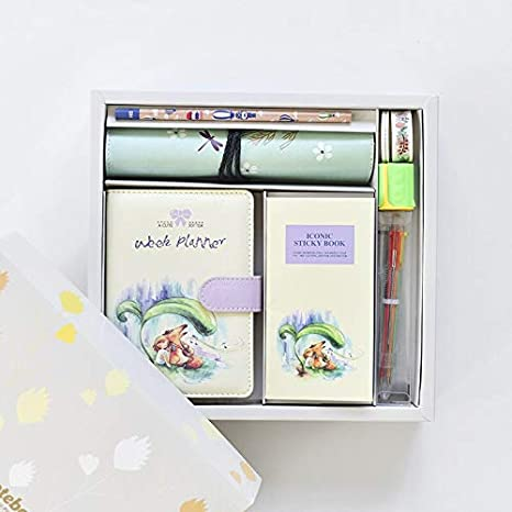 Amazon.com : Stationery Set - Cute Leather Notebooks Cartoon ...