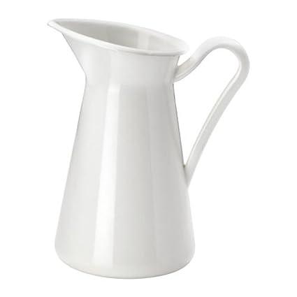 Amazon Steel Enamel Farmhouse Pitcher Vase White 6 Inch