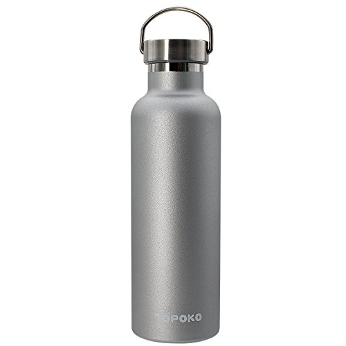 TOPOKO 25 OZ Stainless Steel Vacuum Water Bottle Double Wall Insulated Thermos Leak Proof BPA Free, Wide Mouth with Metal Lid-Grey