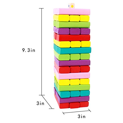 Sricam Timber Tower Wooden Block Stacking Game - Color Match Playset (48pcs)
