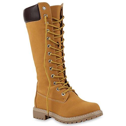 Stiefelparadies Damen Schuhe Schnürstiefel Biker Boots Schnallen Metallic Stiefel Flandell Hellbraun Bexhill