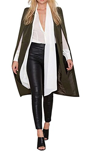 Fubotevic Women Split Casual Business Fashion Shawl Collar Cardigan Trench Coat Jacket Armygre XXS by Fubotevic