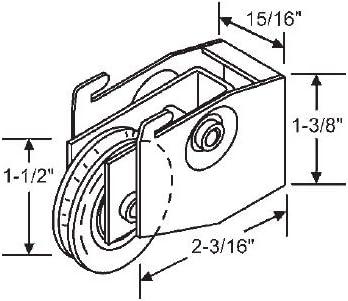 STB Patio puerta corredera de cristal rodillo Acero, rueda, 1 – 1/2