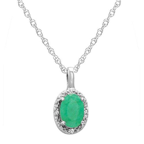 14k White Gold Diamond Oval Pendant - 14K White Gold Oval Emerald and Diamond Pendant (1/2ct tw. 18