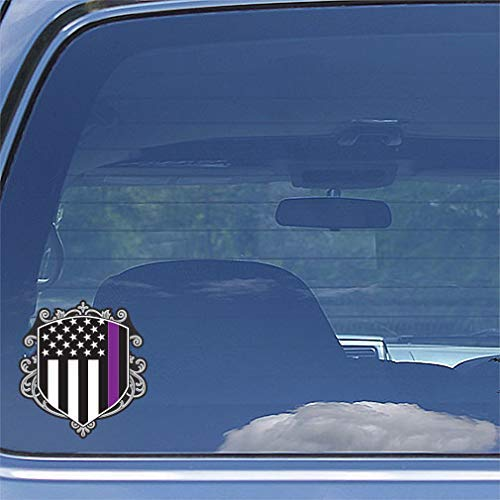 Thin Purple Line Security Officer Security Guard Coat Of Arms Crest American Flag Window Decal Sticker Gift