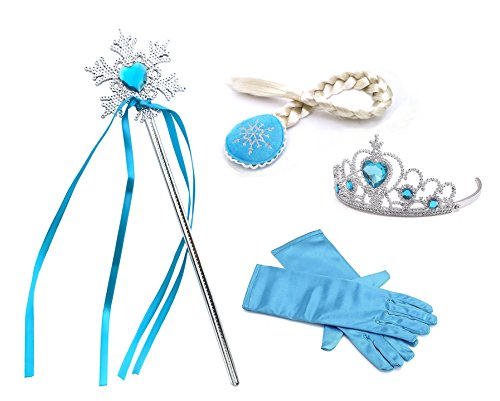 Princess Snow Queen Tiara Braid Magic Wand Gloves 4 Pieces Set accessories (Blue Snowflakes)