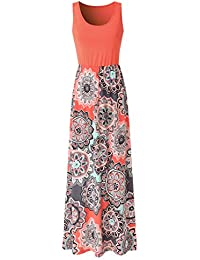 50d7a94a6708 Womens Summer Contrast Sleeveless Tank Top Floral Print Maxi Dress