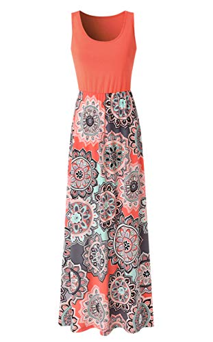 Zattcas Womens Summer Contrast Sleeveless Tank Top Floral Print Maxi Dress Orange Coral XX-Large (Coral Maxi Dresses For Women)