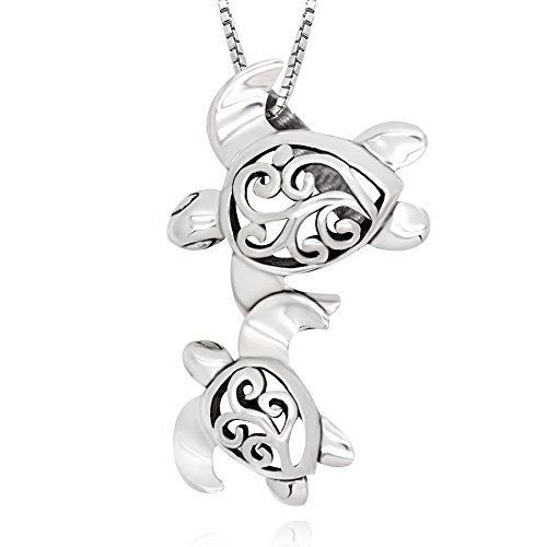 (925 Sterling Silver Filigree Mother Mom and Baby Sea Turtle Pendant Necklace, 18
