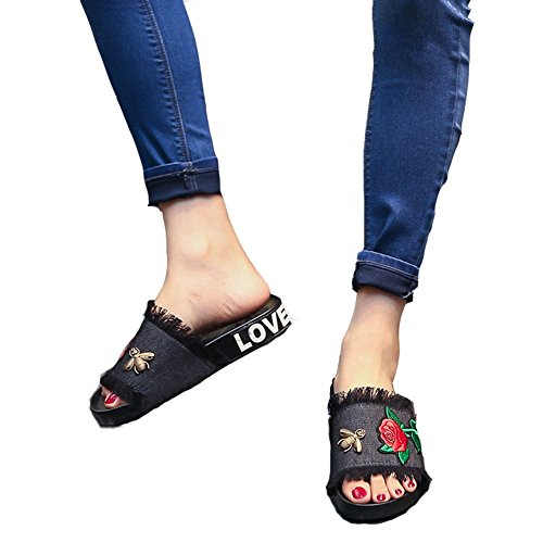 Handmade Black Jeans Flat Flower JULY T Girls Embroidery Sandals Slippers Womens w4Xqtqv