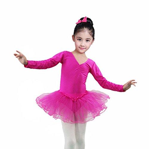 Laimeng_world Toddler Girls Dancing Dress Long Sleeve Bodysuit Gymnastics Gauze Leotards Dress (Hot Pink, 4T) ()