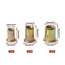 URBEST Mixed Pack Threaded Rivet Nut Inserts 1/4-20,3/8-16, 5/16-18, Each 20Pcs Total Pack of 60Pcs