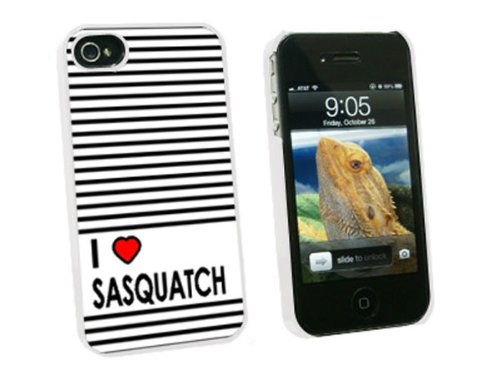 Graphics and More I Love Heart Sasquatch - Bigfoot - Snap On Hard Protective Case for Apple iPhone 4 4S - White - Carrying Case - Non-Retail Packaging - White