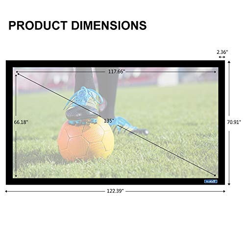 QualGear 135-Inch Fixed Frame Projector Screen, 16: 9 4K HD Ultra White at 1.2 Gain (QG-PS-FF6-169-135-W)