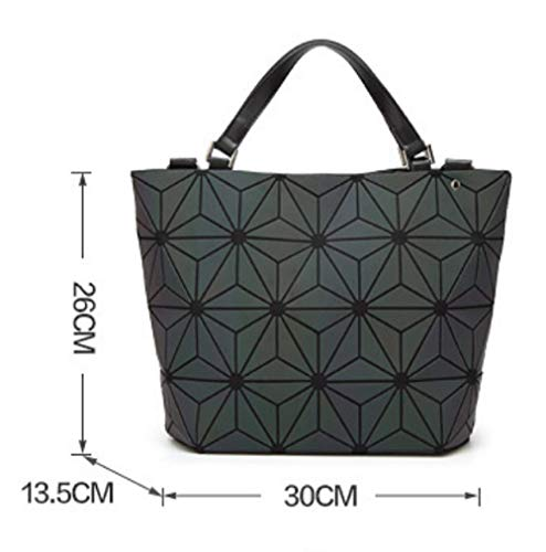 Portable Luminous Shoulder Geometric Black Women Bags Lingge Messenger Folding Bag vq1xw