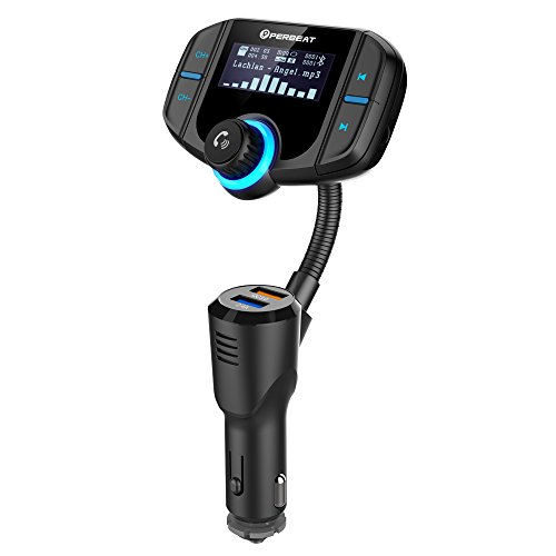 Perbeat Bluetooth FM Transmitter for Car Wireless Adaptor Receiver Fast Charger with QC3.0 USB MP3 Player 1.7Inch Display Flexible Goose-Neck Micro SD Reader AUX In/Out for iPhone 7 iPad Samsung
