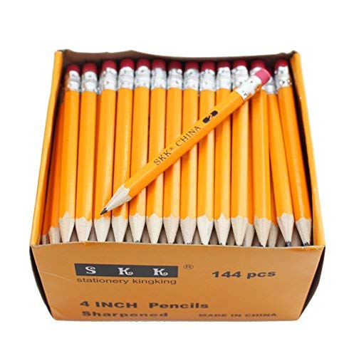 (SKKSTATIONERY Half Pencils with Eraser Tops, Golf, Classroom, Pew - #2 HB, Hexagon, Pre-sharpened,)