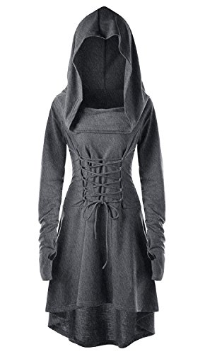 Womens Renaissance Costumes Hooded Robe Lace Up Vintage Pullover High Low Long Hoodie Dress Grey -