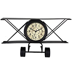Ashton Sutton Quartz Analog Metal Vintage Airplane Table Clock, 10-Inch, Distressed Finish