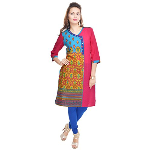 Gaura Women's Cotton Kurti Terquise and Pink