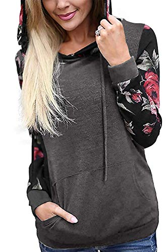 Twinklady Women's Hoodies Long Sleeve Floral Pullover Casual Sweatshirt with Pockets (Floral-Grey, XXL)