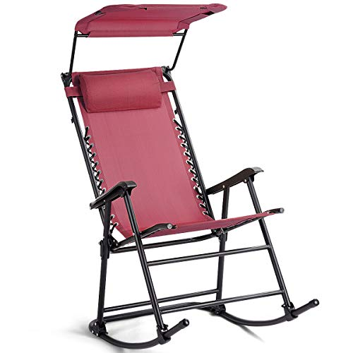 Clever Market Folding Rocking Chair Rocker Porch Zero Gravity Patio Furniture W/Canopy Red