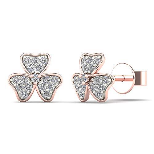 (JewelAngel Women's 10K Rose Gold 1/10 Carat TDW Diamond Flower Stud Earrings (H-I, I1-I2) )