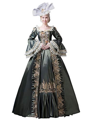 Zukzi Women's 1800s Retro Rococo Gothic Victorian Dress Costume, 13 Blackish Green, Size 6 -