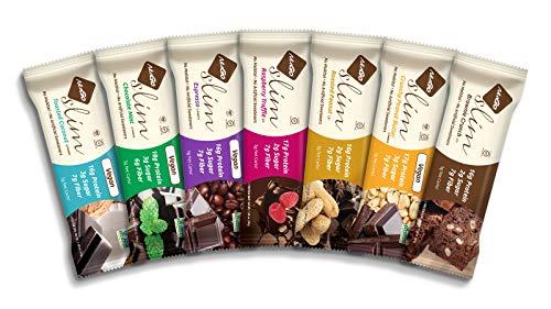 NuGo Slim Dark Chocolate Toasted Coconut, 16g Vegan Protein, 3g Sugar, 7g Fiber, 190 Calories, Low Net Carbs, Gluten Free, 12 Count