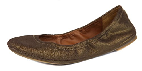 Lucky Brand Womens Bronze Powder Emmie Leather Ballet Flat Shoes [10]