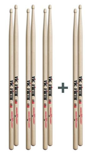 Vic Firth American Classic 4 for 3 Drumstick Value Pack - 5A - Wood Tip - Drumstick Pack
