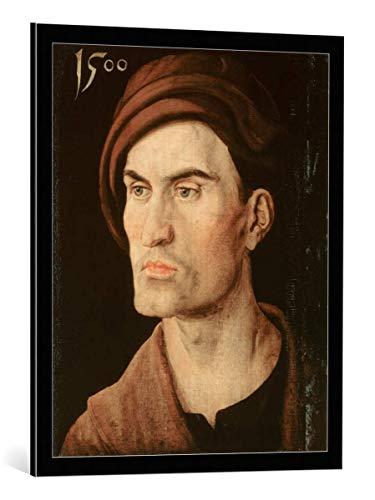 kunst für alle Framed Art Print: Albrecht Dürer Bildnis eines Jungen Mannes - Decorative Fine Art Poster, Picture with Frame, 25.6x31.5 inch / 65x80 cm, Black/Edge Grey
