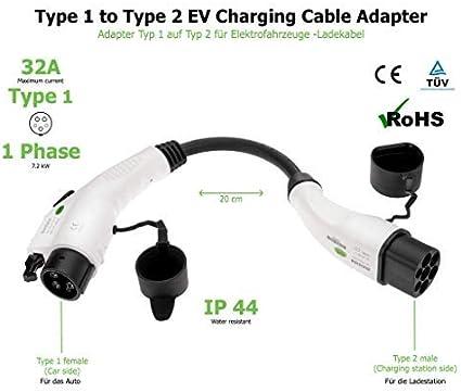 EV Schwarz//Wei/ß-Steckverbinder IP44 3,6 kW 1-Phase 16A Adapter f/ür Elektrofahrzeug Ladekabel Typ 2 IEC 62196 auf Schuko Stecker Ladeger/ätadapter