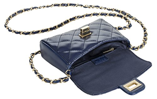 Fashion Accessories by M&C - Quilted Navy Blue Faux Leather Handbag - Make Every Second Count - HB10716