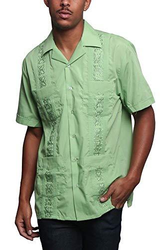 Men's Guayabera Premium Lightweight Embroidered Pleated Cuban Shirt - Omega - Apple Green - 3X-Large ()