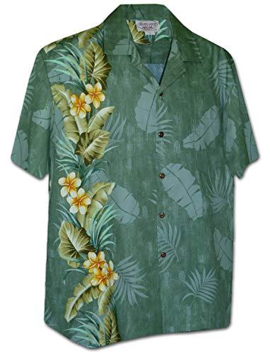 Legends Single - Pacific Legend Tropical Plumeria Single Panel Men's Hawaiian Shirts 444-3970-SAGE-M