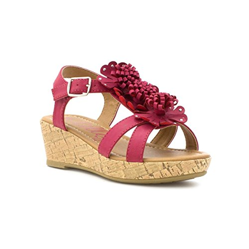 Lilley Girls Flower T Bar Wedge Sandal in Pink - Size 13 Child UK / 1 Youth US - Pink (Sandals T-bar Wedge)
