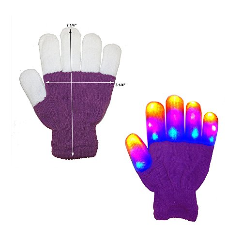The Noodley's Flashing LED Light Gloves - Kids Size Purple Glove - Extra Batteries (Child, Purple / White)