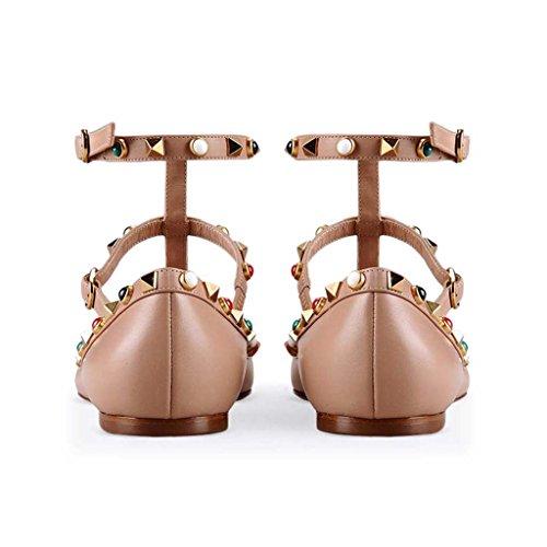 SHEO sandalias de tacón alto Remaches de las mujeres solo zapatos laca clavo hebilla zapatos planos puntiagudos A