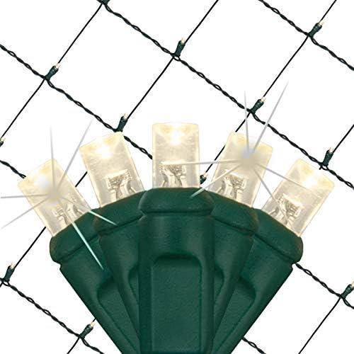 SoftTwinkle Pulsing Net Twinkle Lights, Net Lights Outdoor Twinkling Christmas Lights, Green Wire 70 Lights, 4 x 6 Net, Warm White