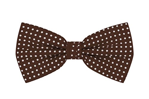 (Jacob Alexander Polka Dot Print Men's Polka Dotted Pretied Bowtie - Brown)
