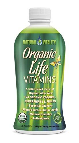 Natural Vitality Organic Life Vitamins Liquid - 30 fl. oz. Organic Aloe Vera, Plant Sourced Amino Acids, Vegetarian Formula. Multi Vitamin Liquid (Natural E Vitamin Liquid)
