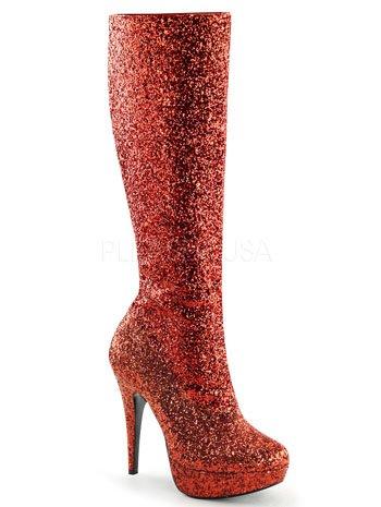 Funtasma Women's Lolita-300G Boot, Red Glitter, 9 M (Red Glitter Boots)