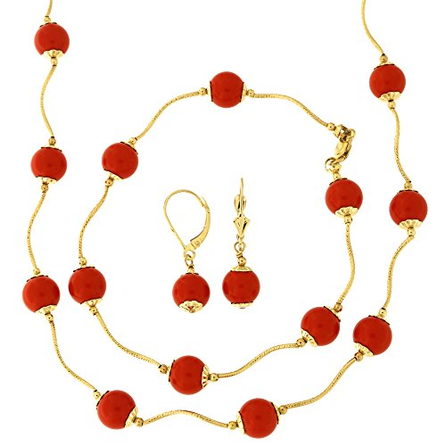 - 14k Yellow Gold Diamond Cut 8mm Capped Simulated Coral Station Necklace, Earrings and Bracelet Set