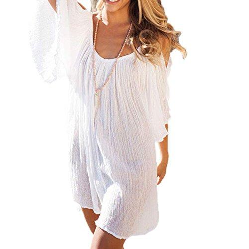 CRAVOG Damen Sexy schulterfrei loose minikleid SommerKleid StrandKleid