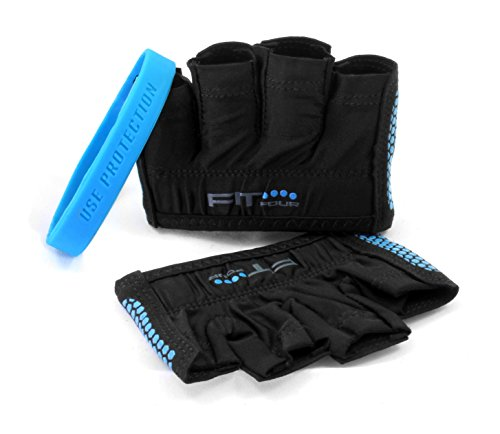 The Gripper Glove | Fit Four Callus Guard Fitness Gloves for WODs, Weightlifting & Cross Training Athletes - Enhanced Silicone Grip Palm (Blue, (Fit Grips)