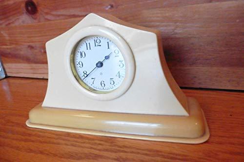 Ansonia Clock Co NY Vintage Ivory Bakelite mantle shelf clock retro ()