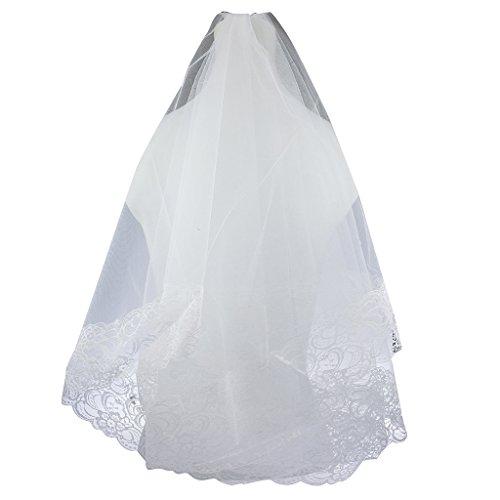 Lux Accessories Bride Bridal Wedding Floral Flower Lace Trimming Veil Headpiece