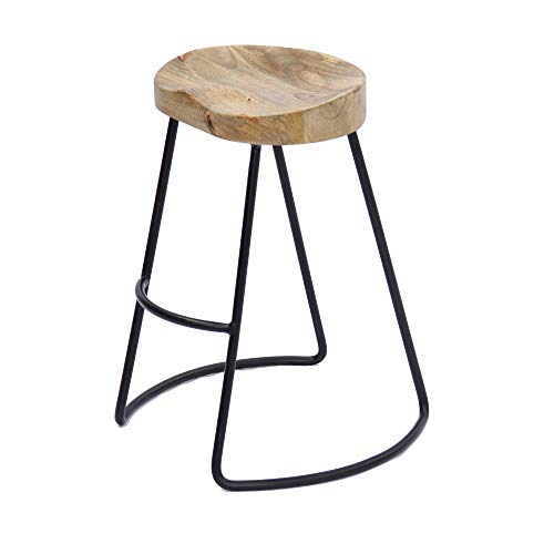 The Urban Port Antique Colonial Attractive Wooden Barstool with Iron Legs (Short)